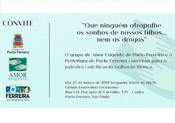f6c4ef61a Cine Grêmio recebe hoje à noite Palestra sobre Drogas com o pedagogo  Ricardo Galhardo Blanco - Noticias PORTO FERREIRA HOJE